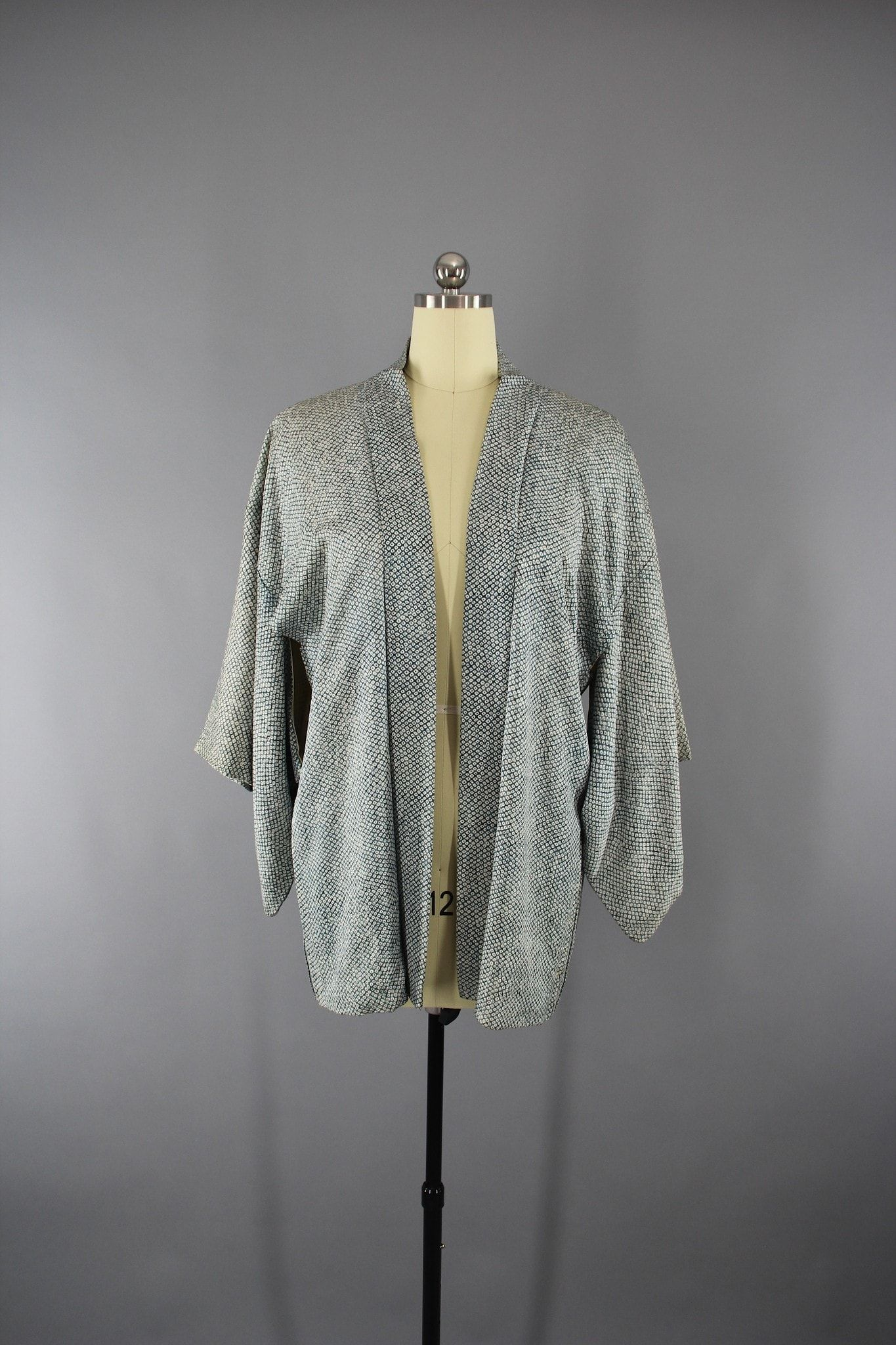 1950s Vintage Silk Haori Kimono Jacket in Blue Green Shibori