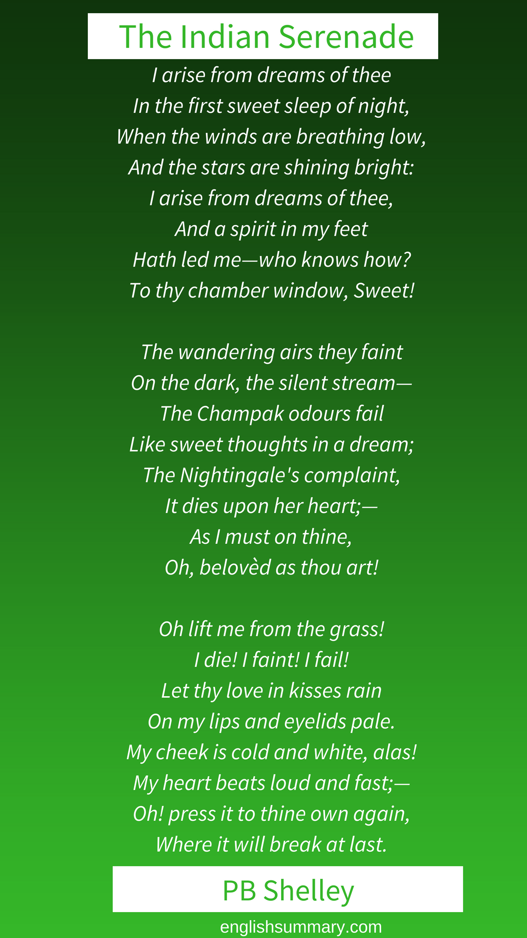 The Indian Serenade By Pb Shelley Romantic Poem Verse About Love Poems A Thing Of Beauty John Keat Theme