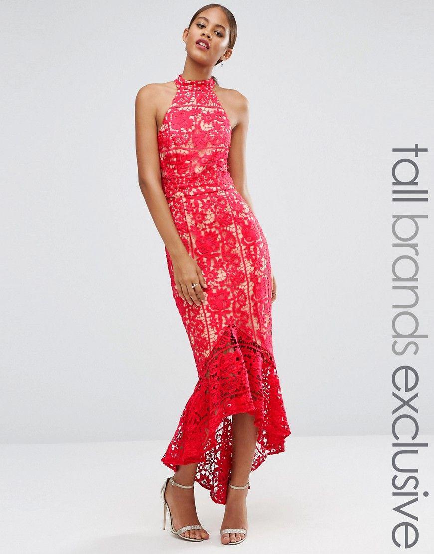 c265f235264e Jarlo+Tall+Halterneck+Cutwork+Lace+Midi+Dress+With+Frill+Hem ...