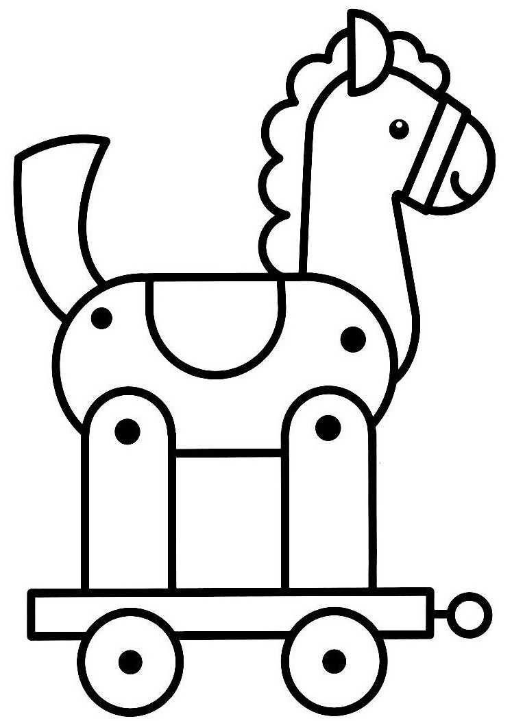img/dessins a colorier/cheval-roulettes.JPG | boyama | Pinterest
