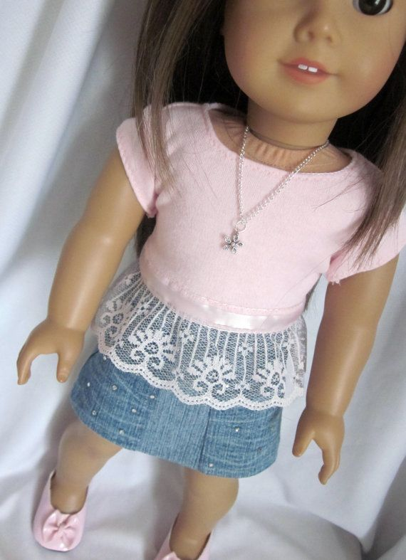Pink knit top with short sleeves ribbon trim and by HannahsDressUp