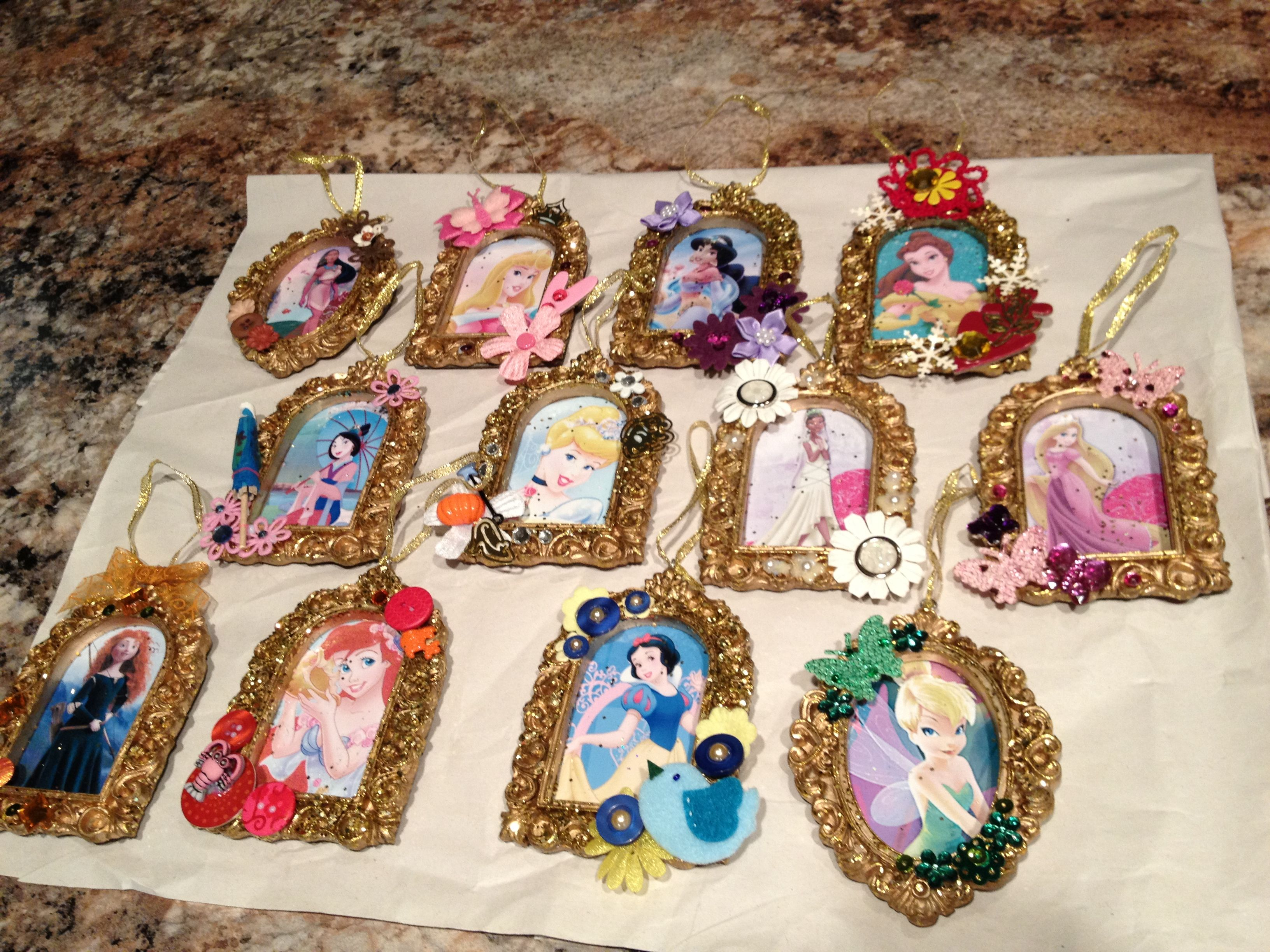 Scrapbook paper dollar general - Ornaments Made From Disney Clipart Printed On Photo Paper Glittery Gold Frame Ornaments From Dollar General And Various Embellishments To Suit Each