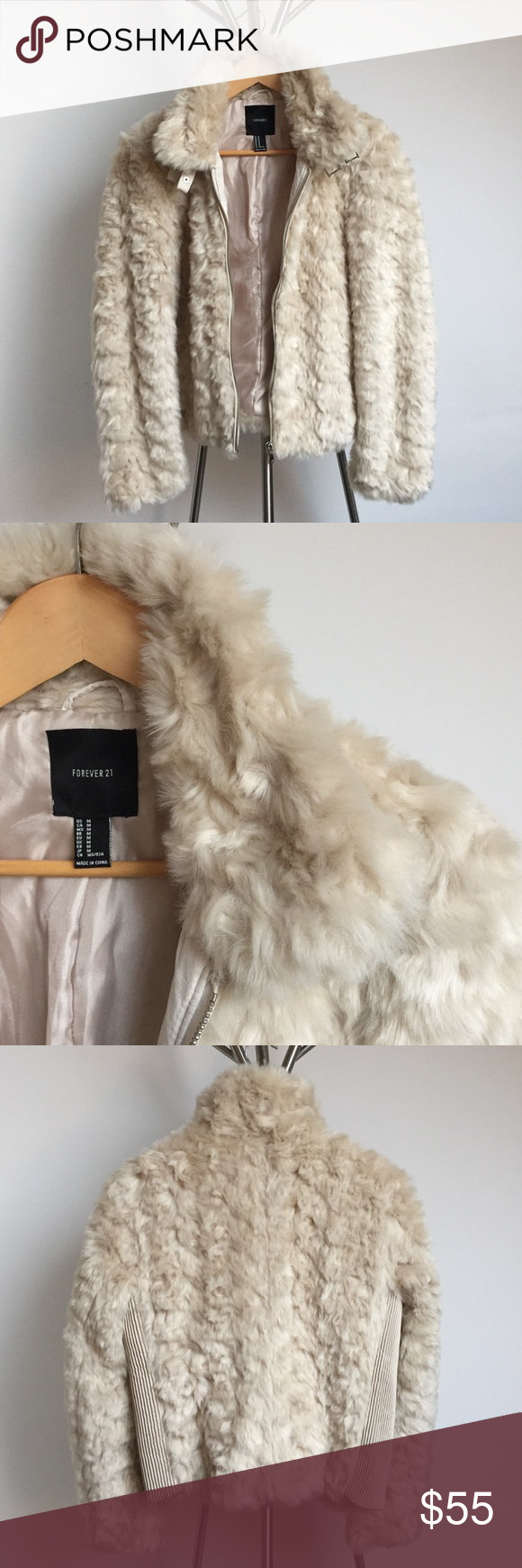 Forever 21 Faux Fur Coat (With images) Cream faux fur jacket