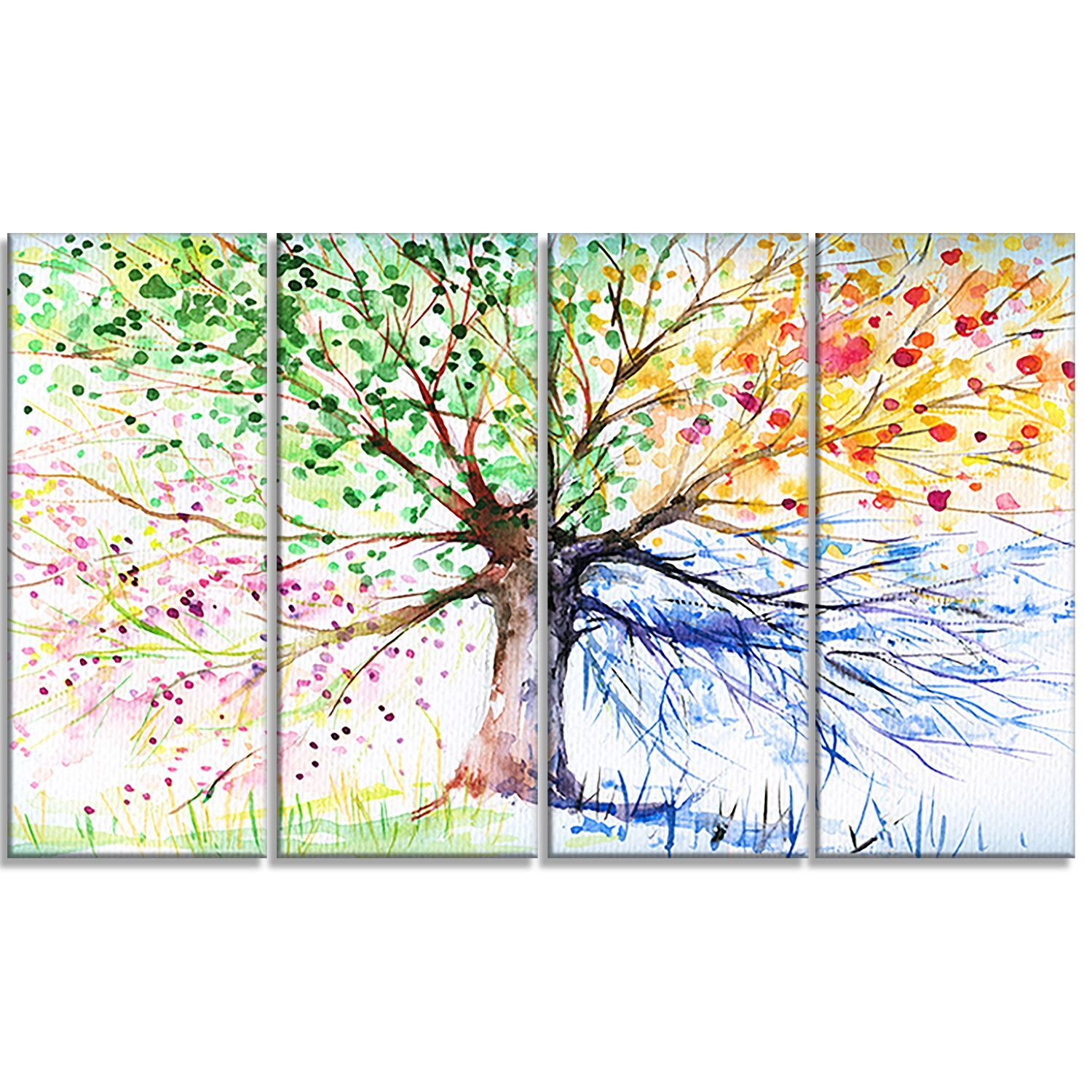 Four Seasons Tree Floral 4 Piece Painting Print On Wrapped