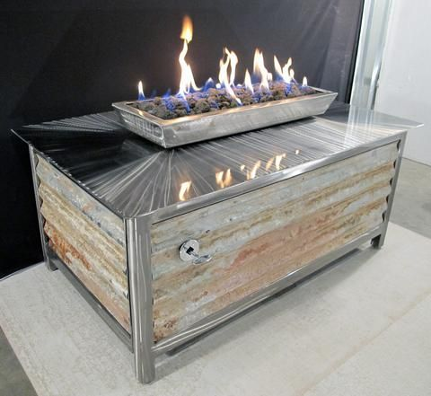 Rectangular Fire Table With Corrugated Steel Side Panels