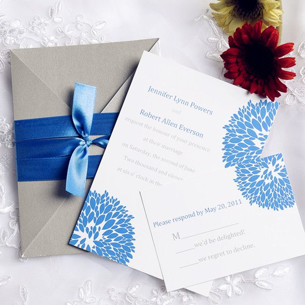 Inexpensive Blue And Gray Pocket Wedding Invitations EWPI097
