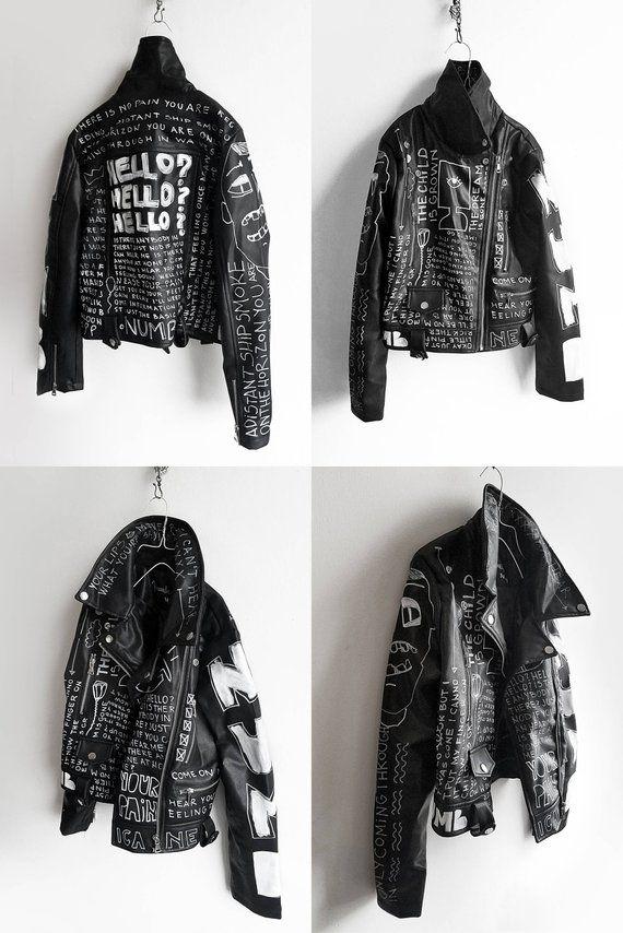 Hand painted jacket, black and white punk jacket,