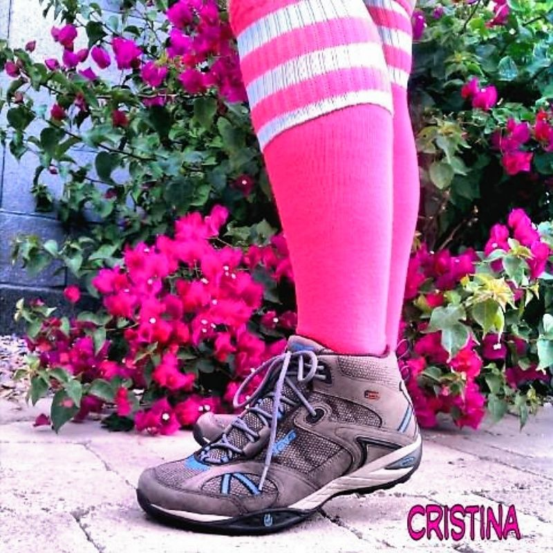 Got my new hiking shoes on of course my pink socks fav