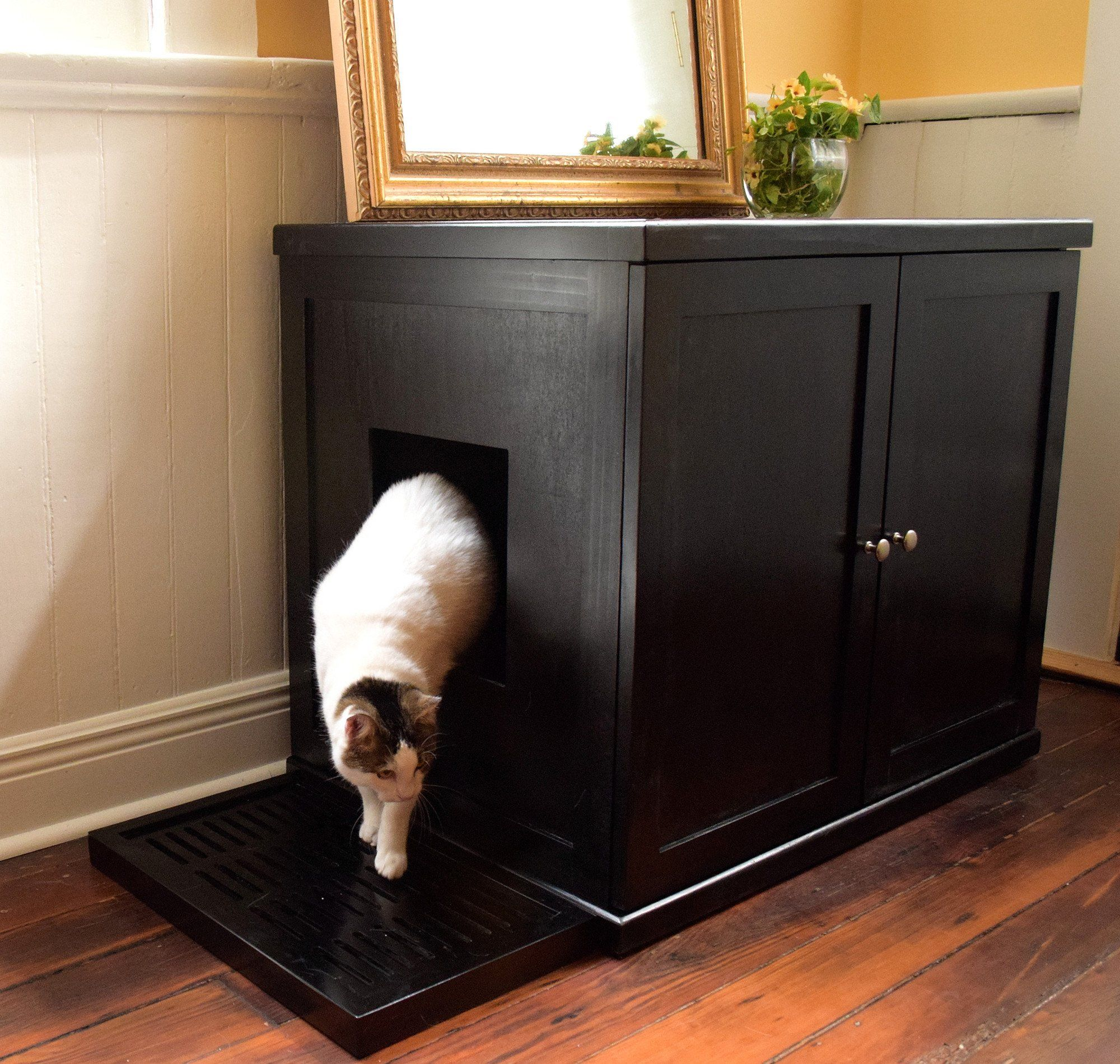 Modern Cat Litter Box Hidden In A Table Cat Litter Box Furniture Litter Box Enclosure Hiding Cat Litter Box