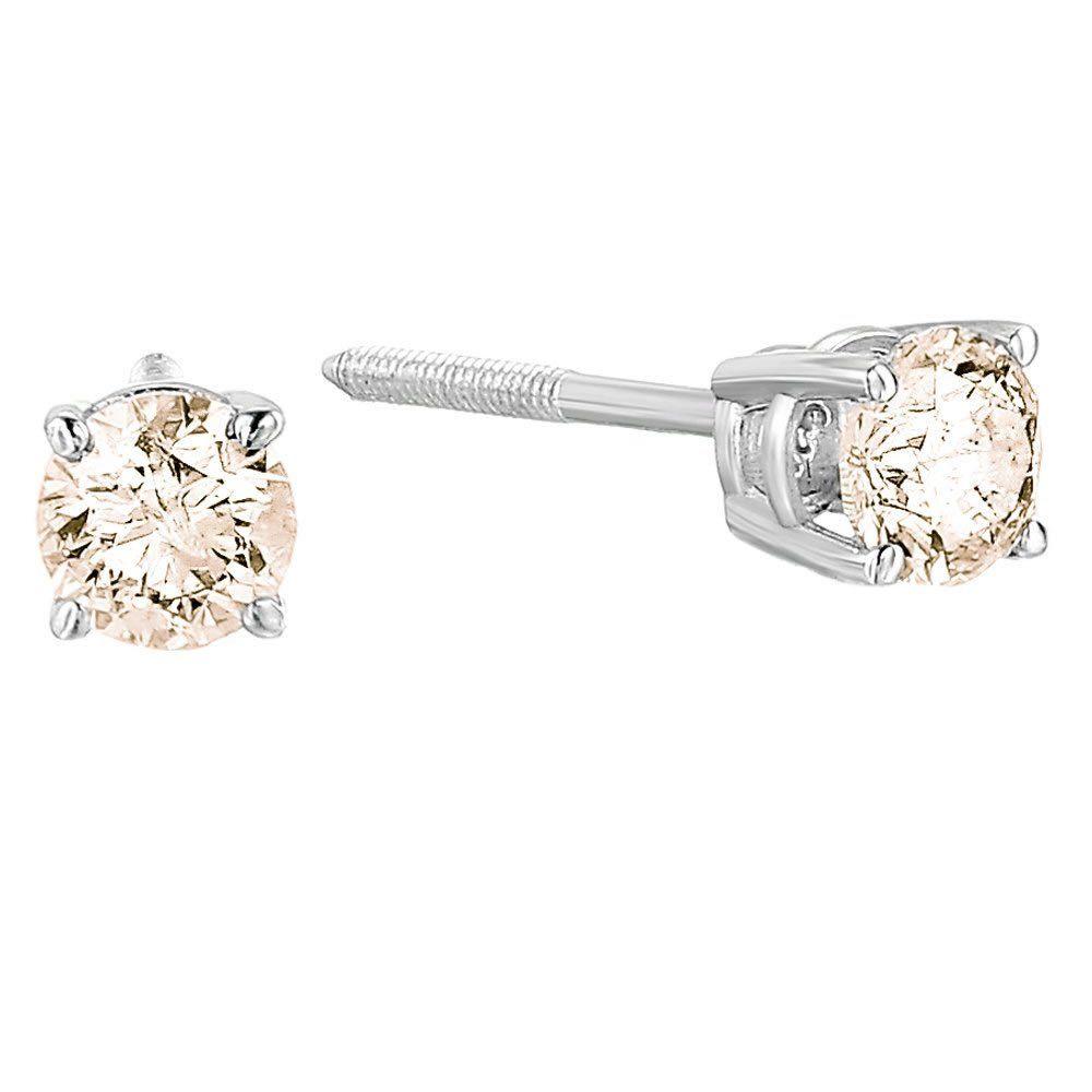 0.46 Cttw IGI Certified Round Natural Black Diamond Stud Earrings 14K Solid Gold