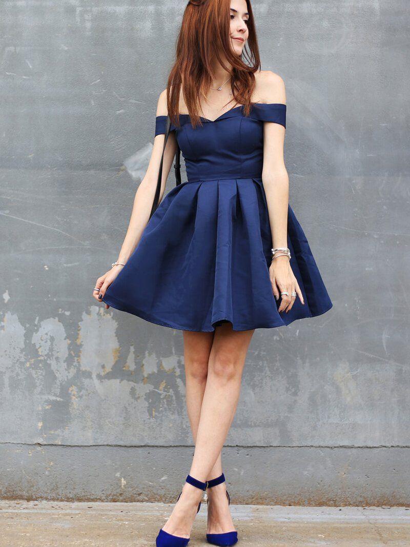 Sexy homecoming dress offtheshoulder dark navy short prom dress