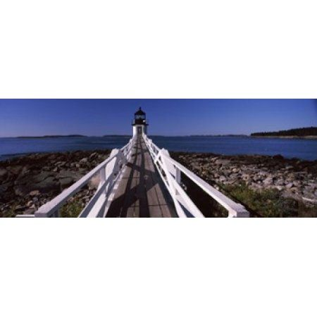 Lighthouse on the coast Marshall Point Lighthouse built 1832 rebuilt 1858 Port Clyde Maine USA Canvas Art - Panoramic Images (30 x 12)