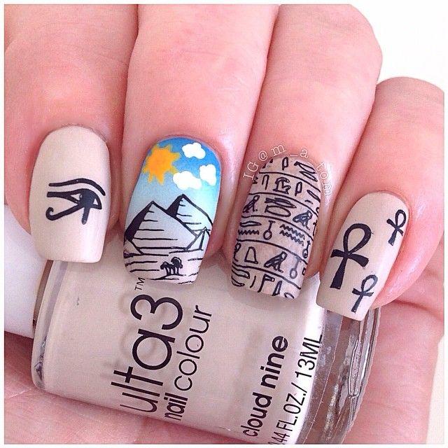 matte Egyptian nails pyramid and ankh | エジプト | Pinterest | Uñas ...