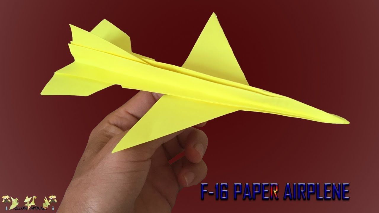 F 16 Airplane How To Make A Cool Paper Plane Instruction Diy In 2020 Paper Plane Paper Paper Claws