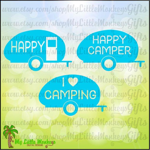 Happy Camper Vintage Silhouette Digital Design Instant Download Cut File Full Color Jpeg Png SVG DXF EPS Files