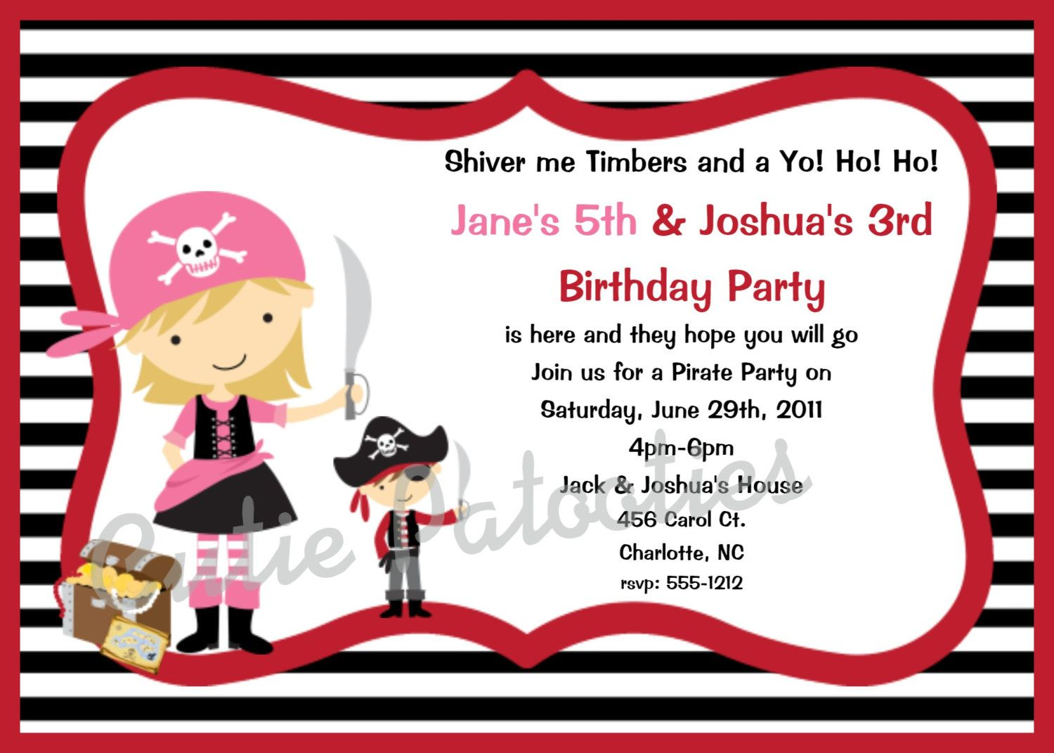 Pirate Birthday Invitation, Pirate Party Invitations, Printable or ...