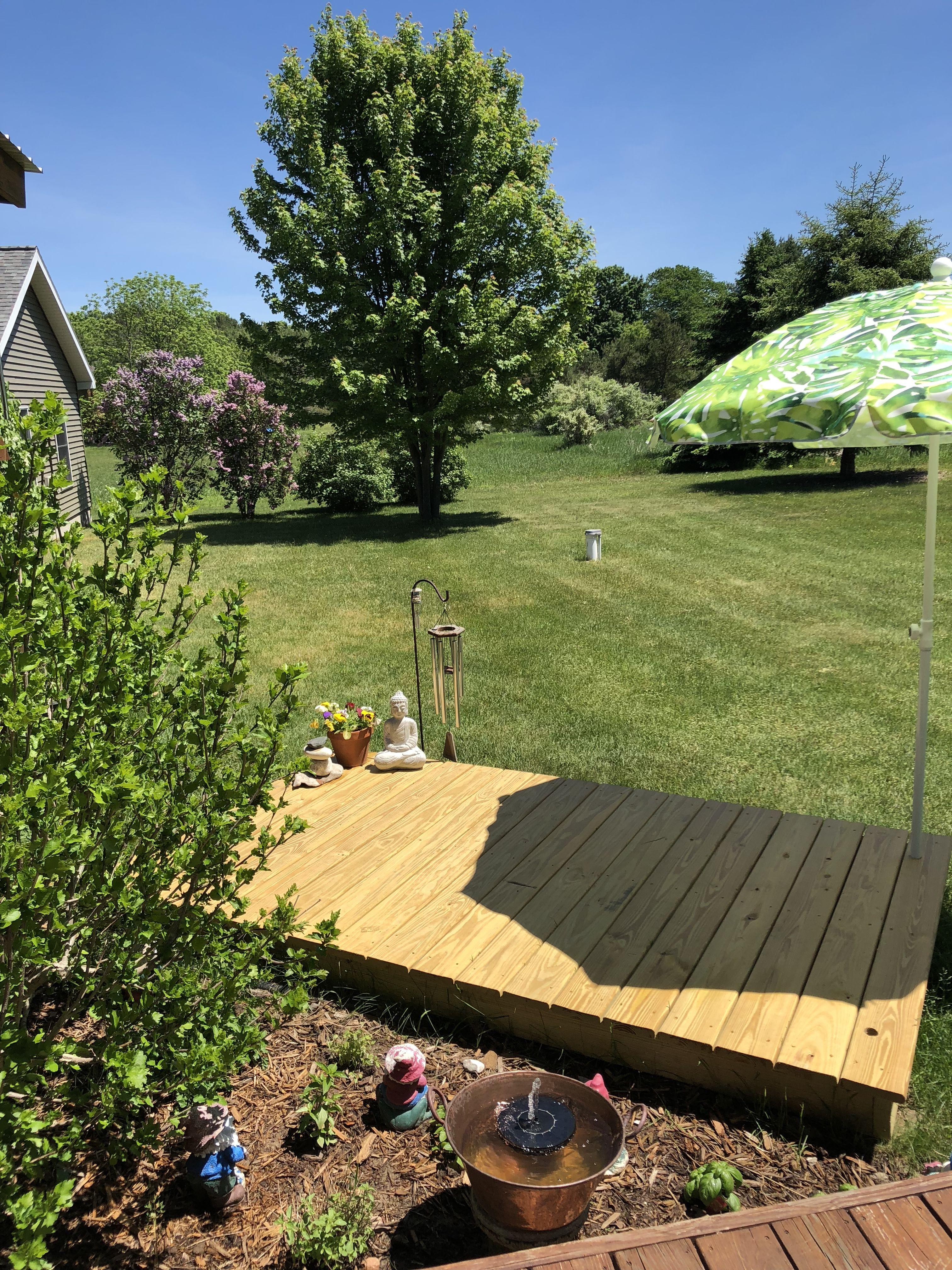 Outdoor Yoga Platform Easy To Make Next To My Herb Garden Outdoor Meditation Meditation Space Outdoor Outdoor Yoga Space Diy backyard yoga studio