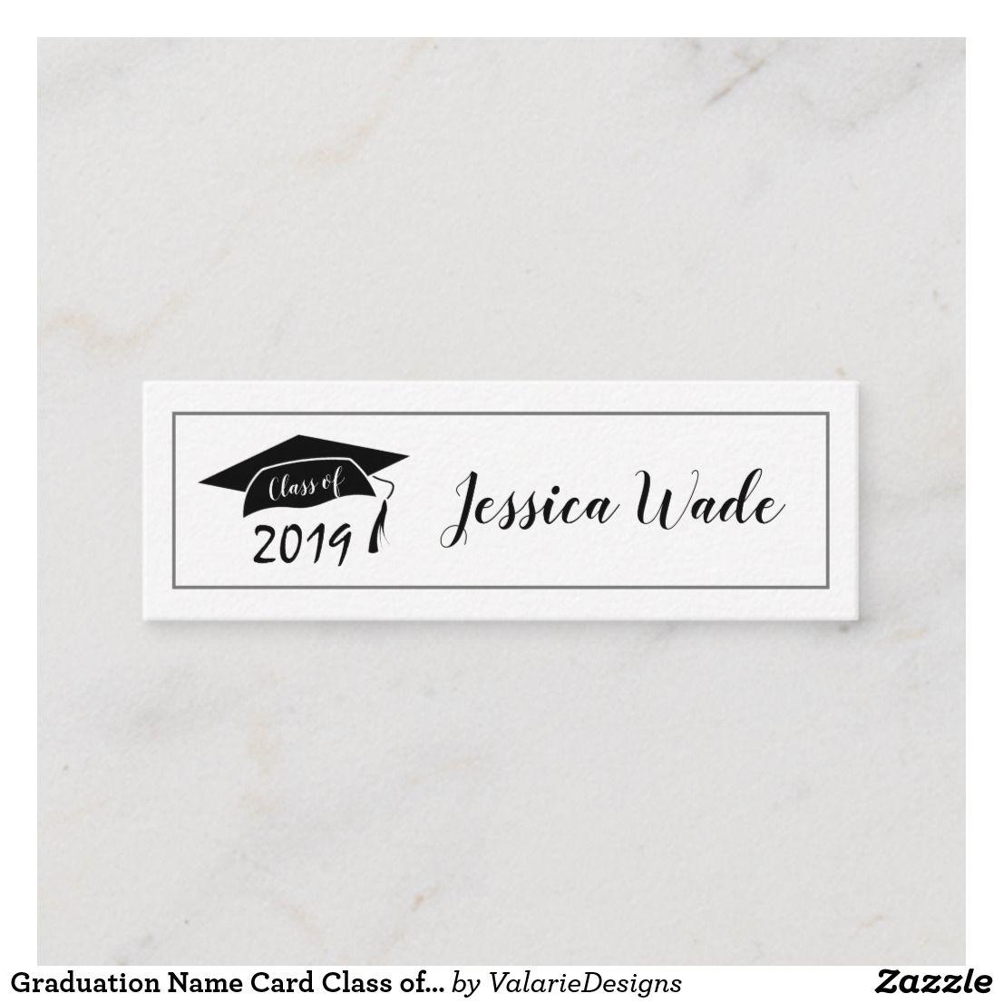 Graduation Name Card Class Of 2019 Cap Zazzle Com Card Class Name Cards Contact Card