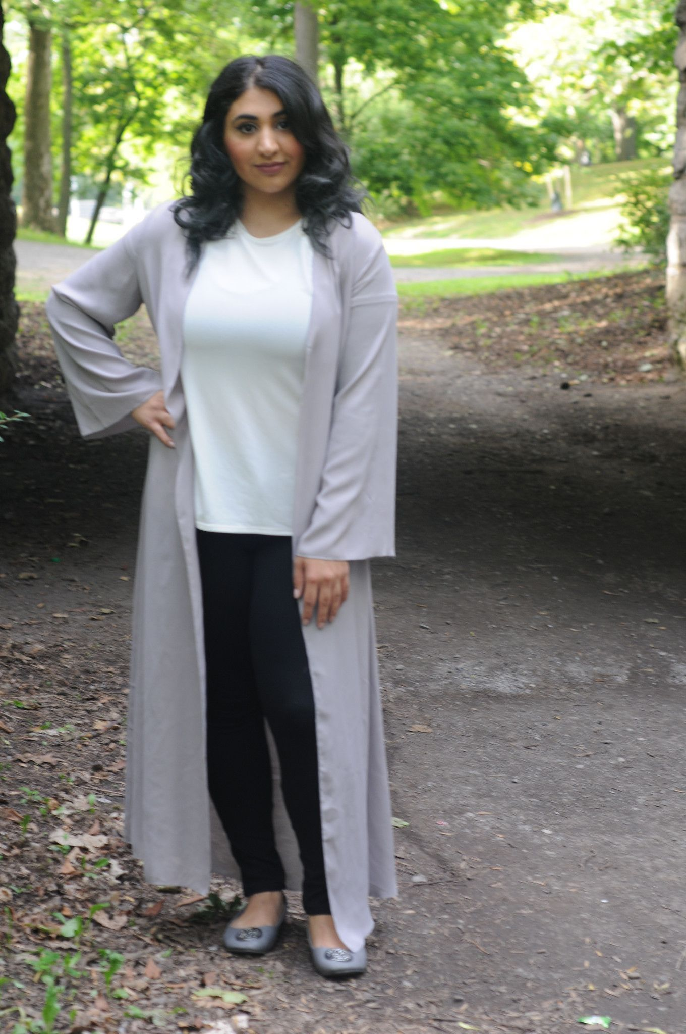 Solid Gray Long Sleeve Maxi Duster