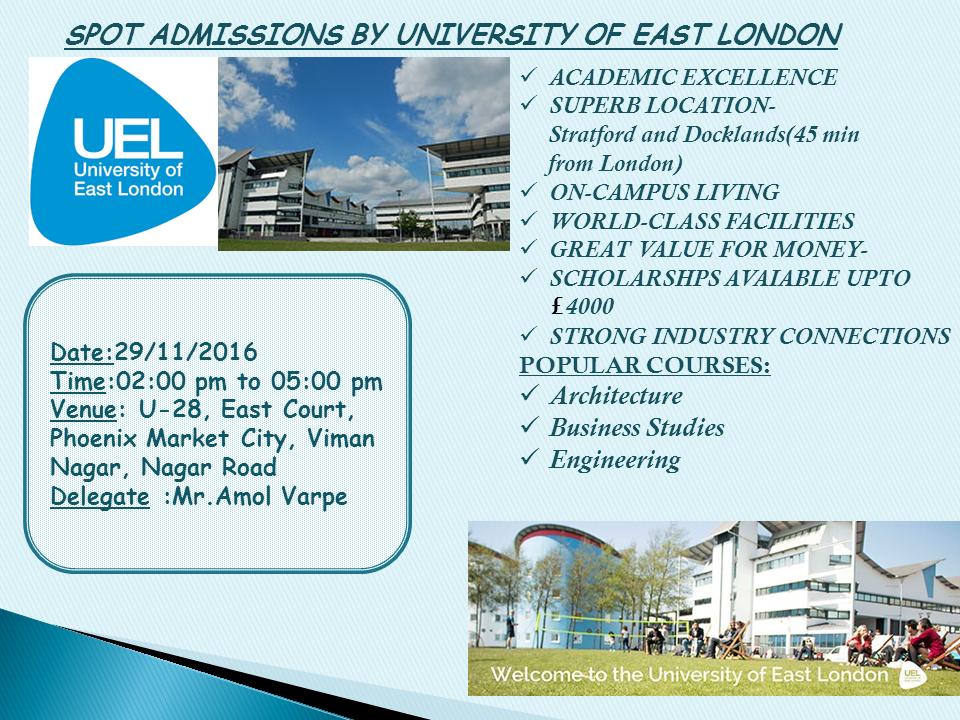 Spot Admissions By University Of East London Krishna
