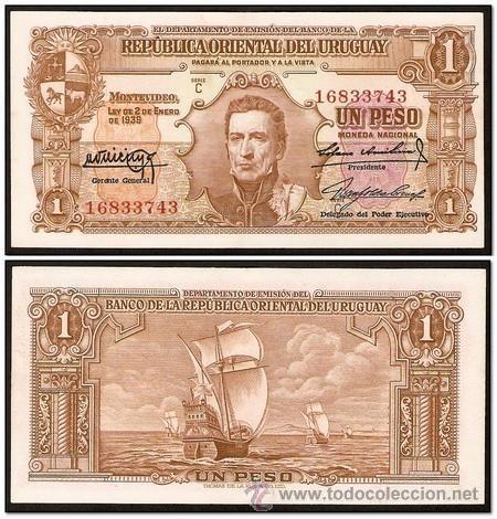 Uruguay 1 Peso 1939 Notas Moedas Selos