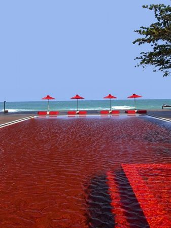 The Library, Koh Samui:  Forget calming blue waters, the pool at the Library on this Thai island is an eye-popping blood red. The pool, which gets its colour from the orange, yellow and ruby red mosaic tiles that form a pattern on the floor, is as eye-catching as the sandy white beach on Koh Samui's Chaweng strip.