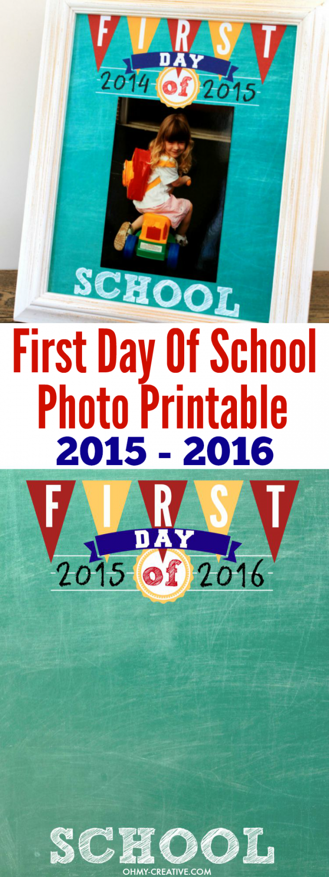 Display your kids First Day Of School Photos with this FREE Printable! Find school dates from 2014 - 2020. All years are available to print now! Can be added to a scrapbook after the school year is finished! | OHMY-CREATIVE.COM