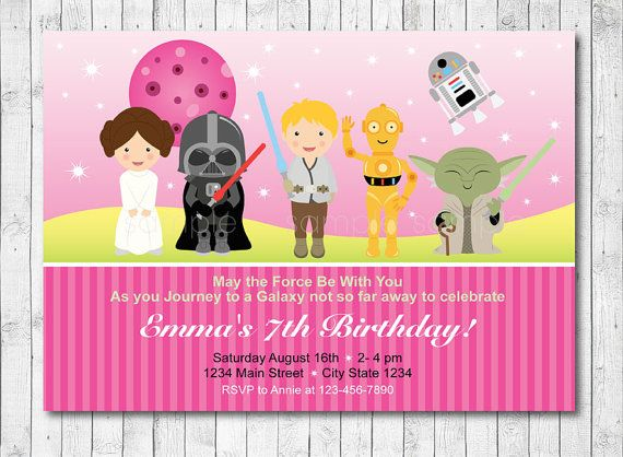 Star wars birthday invitation star wars invite pink girls star wars birthday invitation card pink girl by funkymushrooms stopboris Gallery