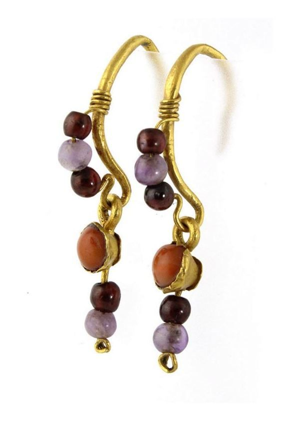 Roman Earrings, 1st Century AD.  Made of gold, garnet, coral and amethyst.