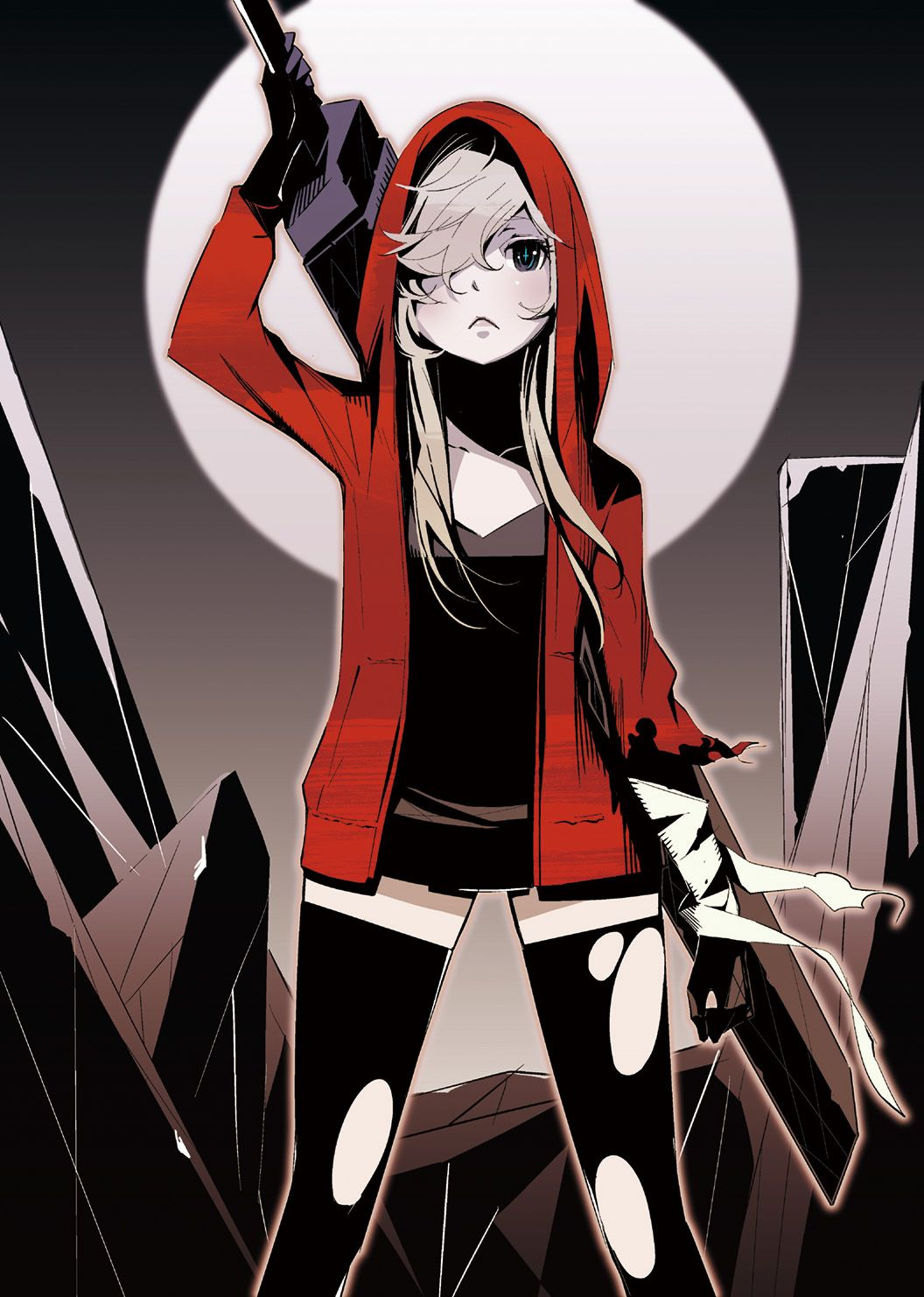 Anime Girl with blonde hair green eyes hoodie short dress thigh