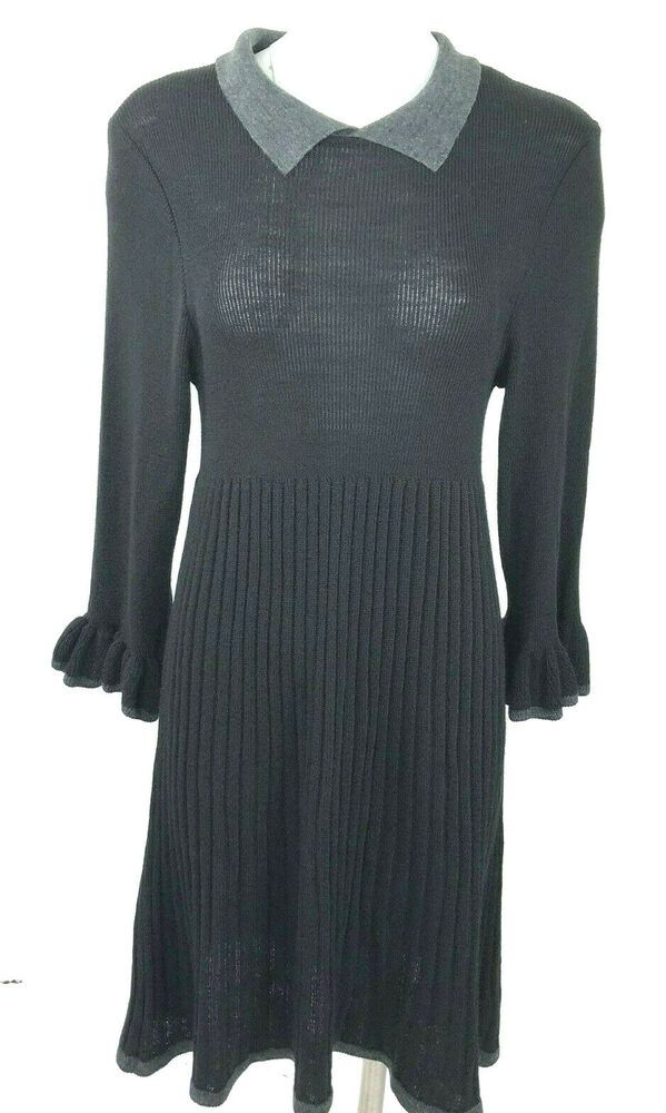 e6921dbebf Lennie for Nina Leonard Pleated Sweater Dress Black Gray Ruffle Cuffs XL   LennieforNinaLeonard  SweaterDress