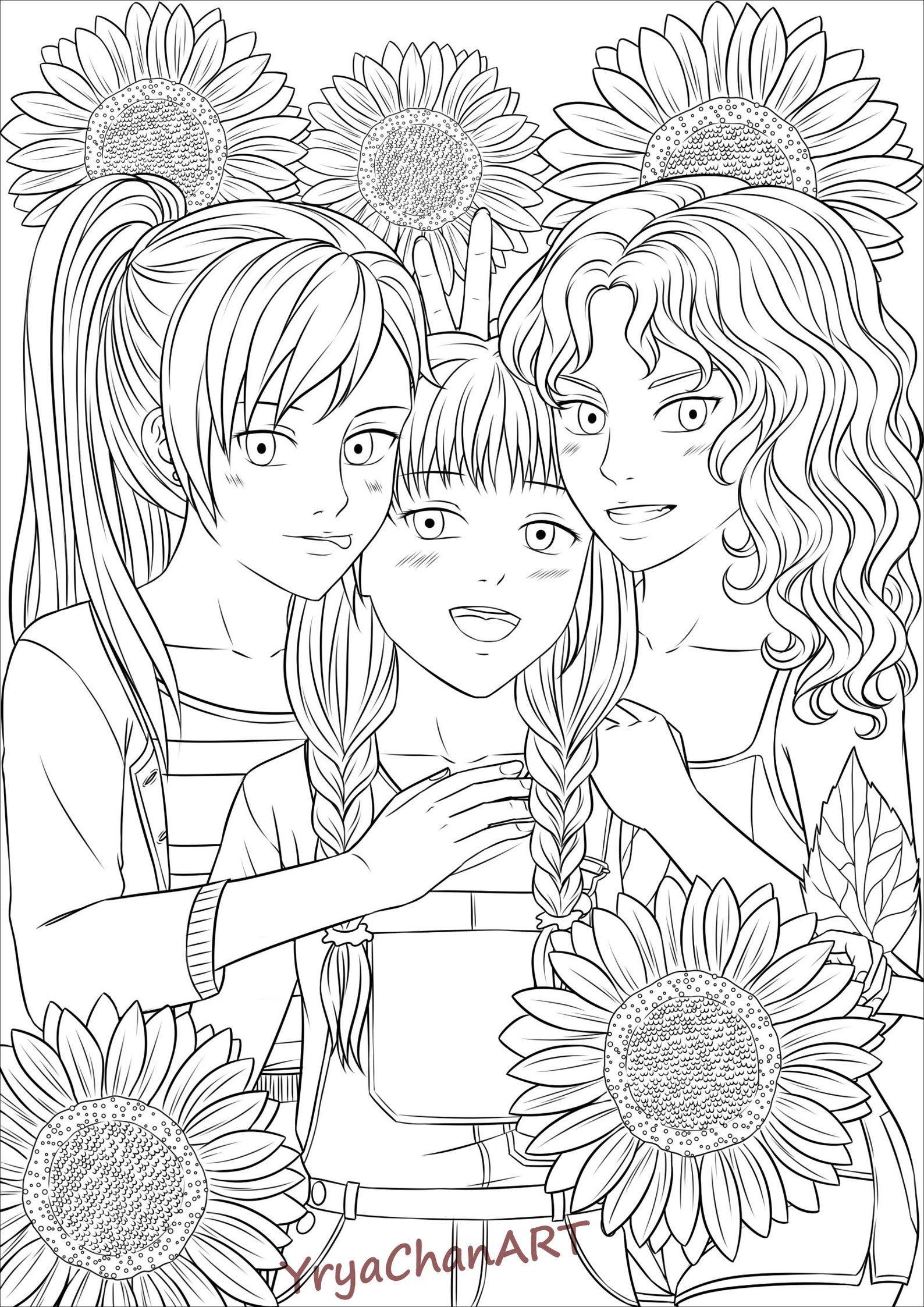 Filles et Fleurs Manga 22 pages de coloriage PDF prêt à  Etsy