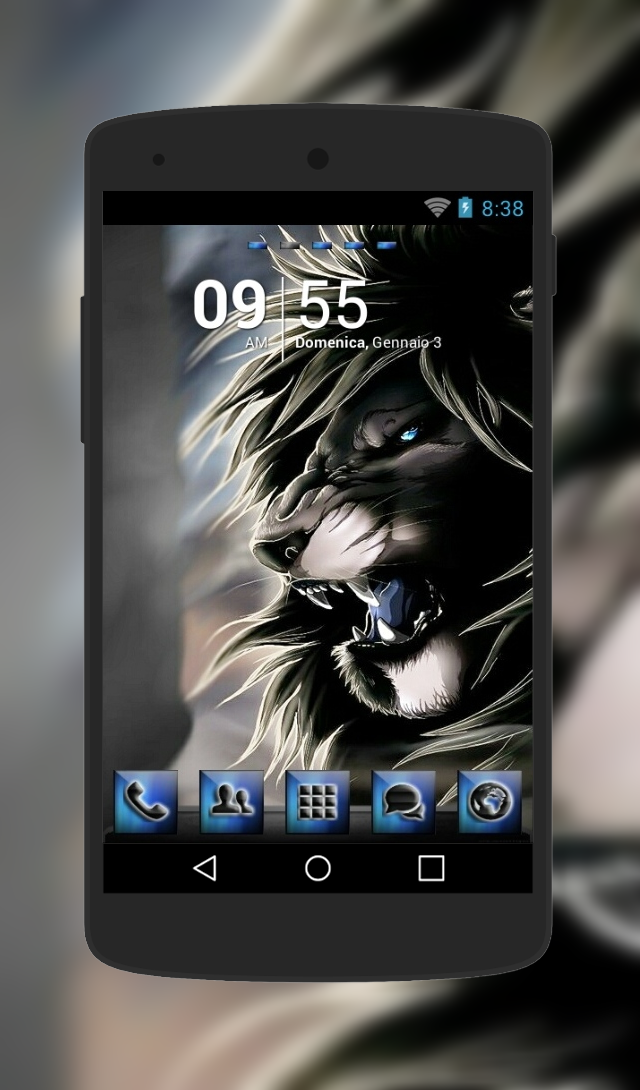 """""""Black Lion"""" Android Theme. Free download  http://androidlooks.com/theme/t0675-black-lion/  #Lion, #android, #themes, #customization,  #animals, #goLauncher"""