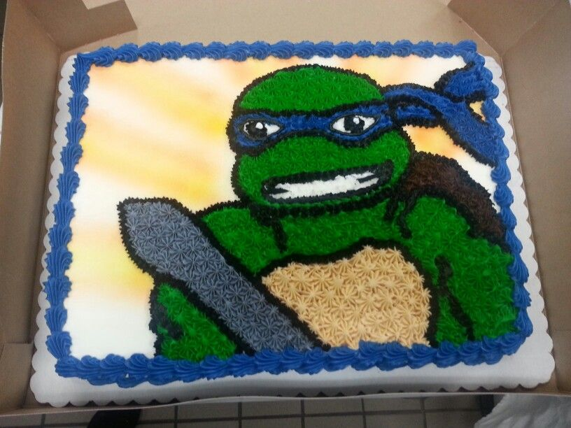 Teenage Mutant Ninja turtle sheet cake. Buttercream ...