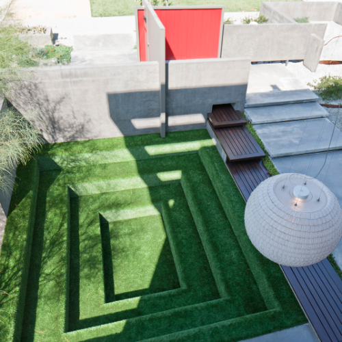 Lisa Ling: 5 Ways to Make Your Home a Peaceful Oasis  http://www.savvysugar.com/Lisa-Ling-House-Photos-Tips-Peaceful-Home-26949318  Lisa Ling's house has a Conversation Pit covered in faux Grass.  http://www.loridennis.com/greenblog/2012/06/interior-design-house-tour-with-lisa-ling-and-paul-song/