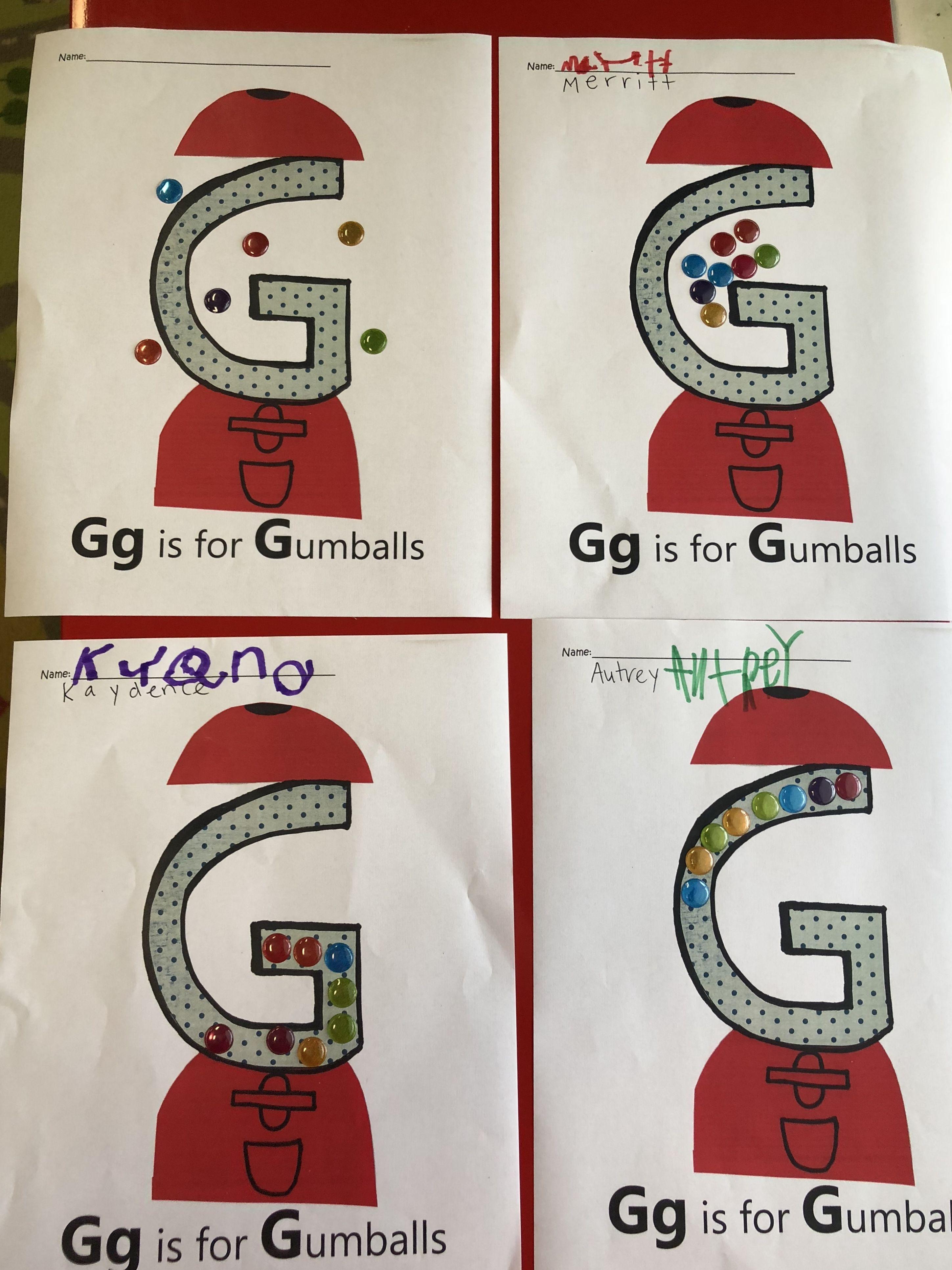 G Is For Gumballs Preschool Letter G Art Alphabet Art