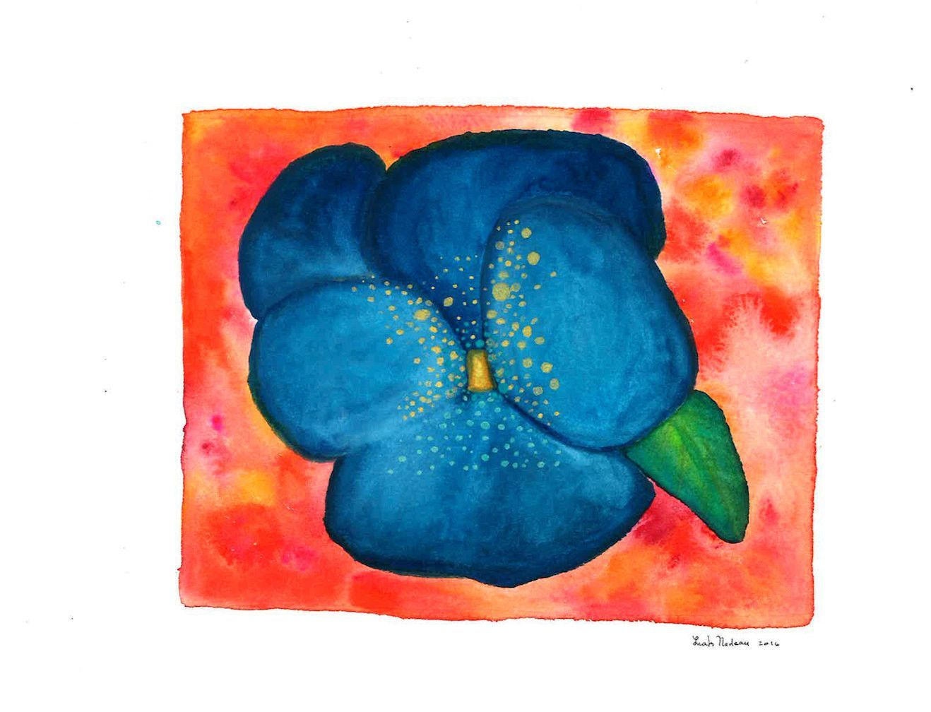 Electric Blue Flower-Original Watercolor Painting