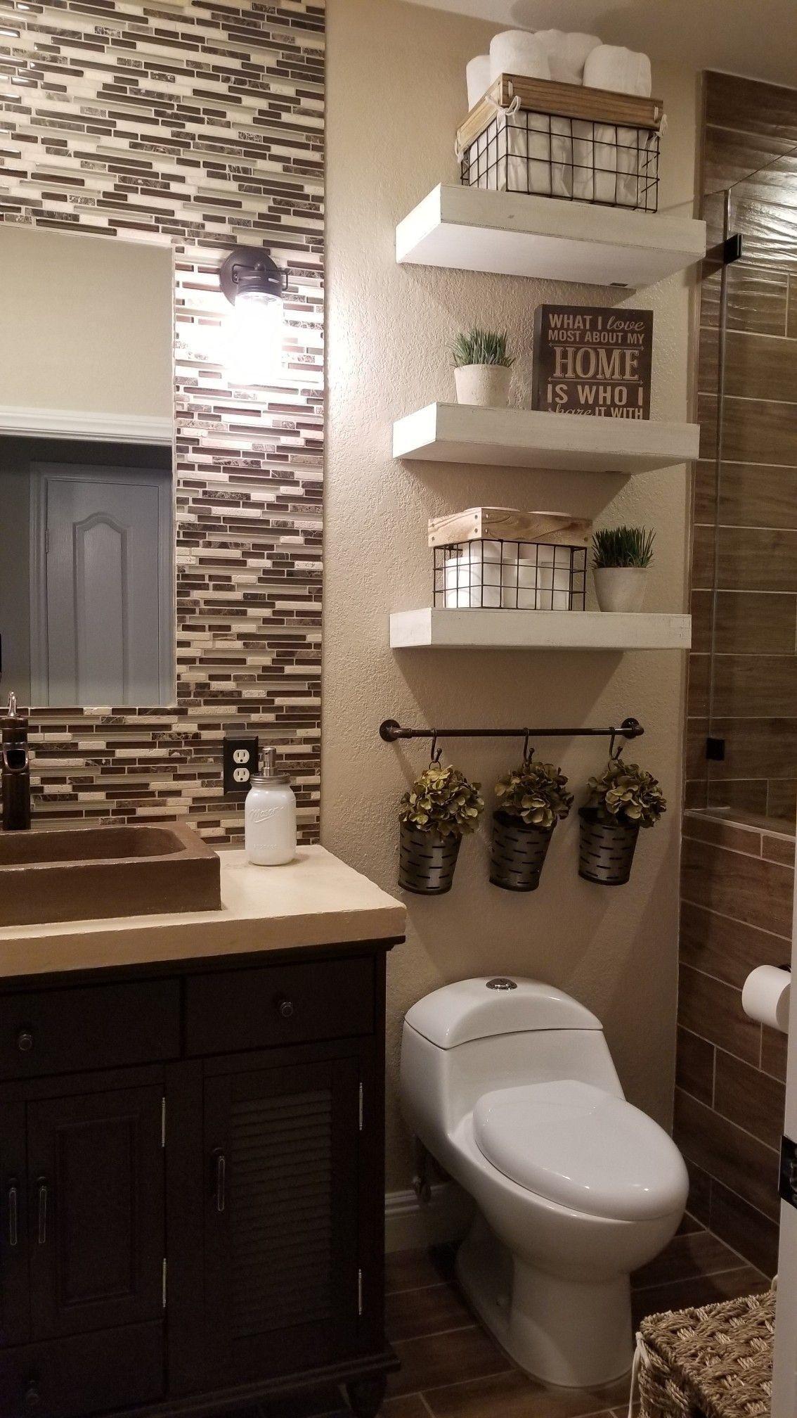 32 Wonderful Bathroom Decoration Ideas With Farmhouse Style Guest Bathroom Decor Small Bathroom Remodel Small Bathroom Decor Decorating ideas bathroom flooring