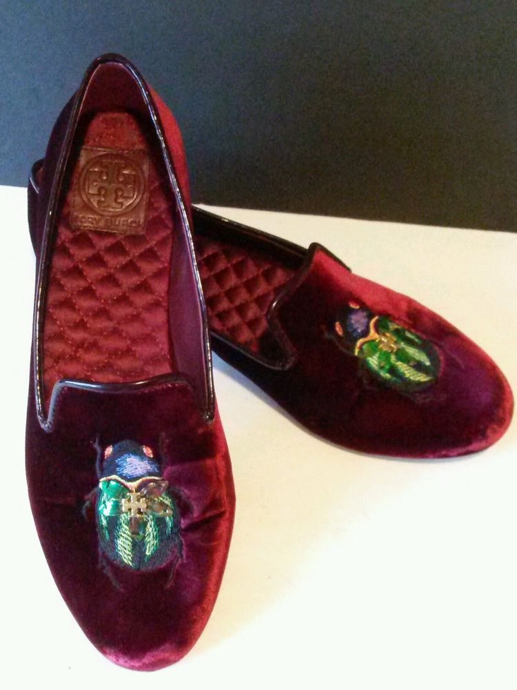 Tory Burch Shoes Easton Smoking Slippers Flats Beetle Red Velvet Size 9  Reva #ToryBurch #