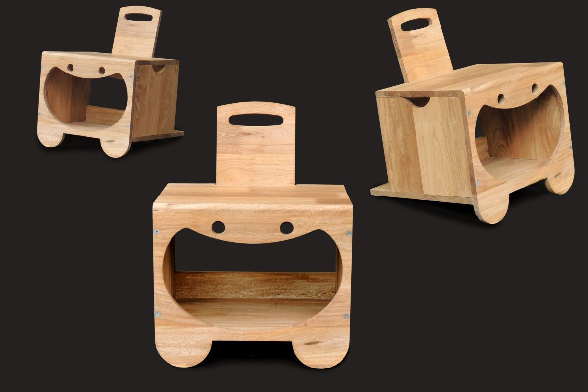Boco:  Stacking Chairs to do shelves, with internal space to put things