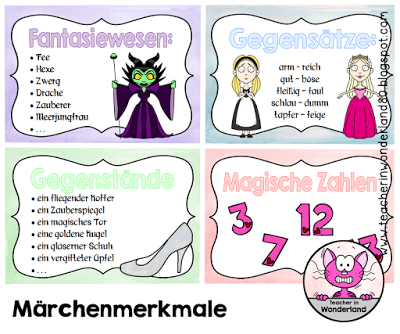 teacher in wonderland kleine plakate zu den m rchenmerkmalen deutsch m rchen grundschule. Black Bedroom Furniture Sets. Home Design Ideas