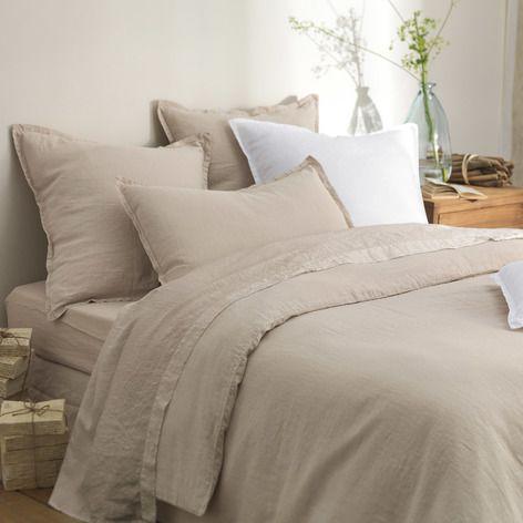 drap plat taupe reve de lin parure de lit en 2019 lit linge de lit et parure de lit. Black Bedroom Furniture Sets. Home Design Ideas