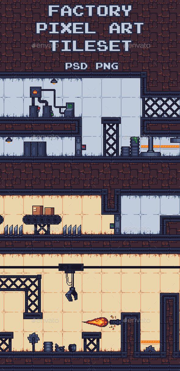 Factory Pixel Art Tileset Tilesets Game Assets Royalty
