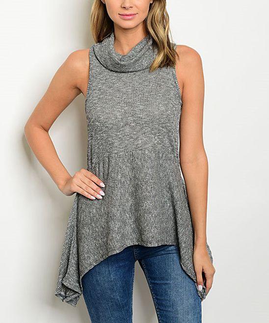 Gray Cowl Neck Peplum Top | Products | Pinterest