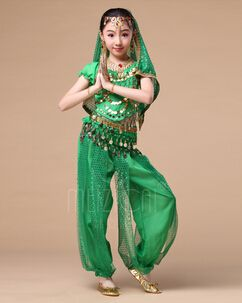 Girls Arabian Princess Halloween Indian Dance Costume Genie Performance Belly Dance Sets for Dress Up Party 7-Piece Outfits