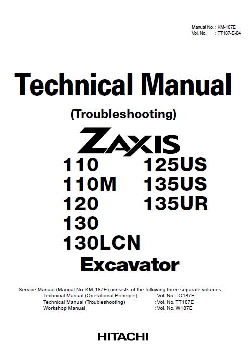 Hitachi Zx110 Zx110m Zx120 Zx130 Zx130lcn Excavator Service Manual Hitachi Excavator Manual