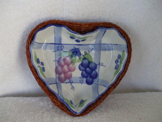 Heart Baking Dish  with Wicker Basket  by onevintagevagabond, $12.00