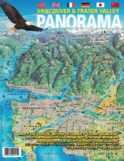 Vancouver Fraser Valley Panoramic Tourist Map 31x20 79x52