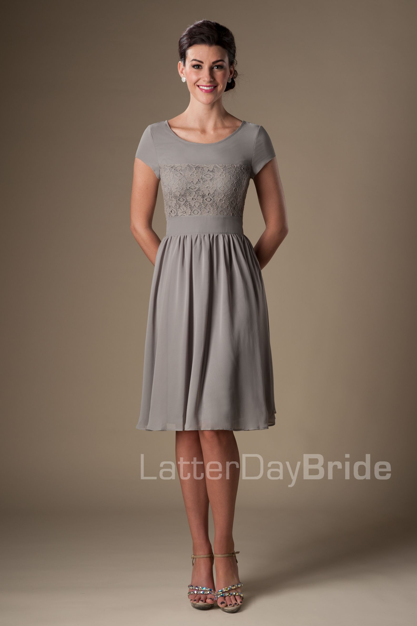 Modest bridesmaid dress from latter day bride in a lovely gray modest bridesmaid dress from latter day bride in a lovely gray that can be worn to ombrellifo Image collections