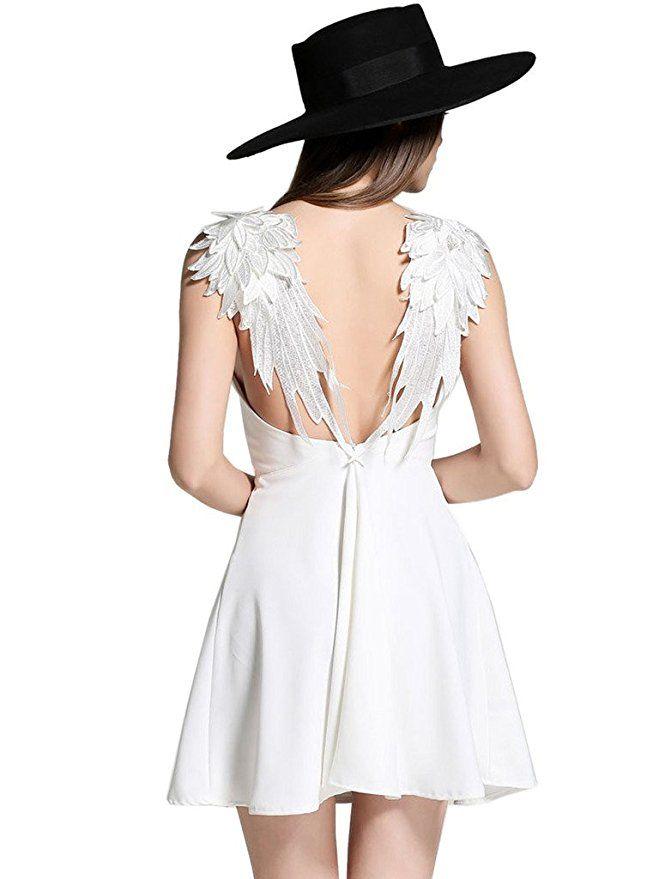 57b52825d3 Amazon.com  Choies Women s White Plunge V-neck Angel Wings Open Back Skater  Cami Mini Dress  Clothing